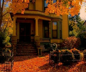 house, autumn, and leaves image