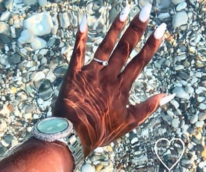 beach, nails, and woman image