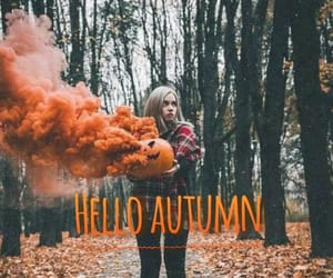 autumn, girl, and hello image