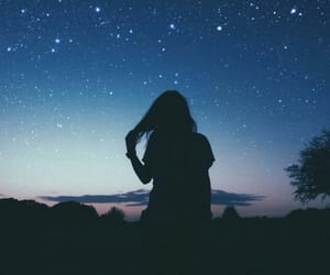 girl, sky, and stars image