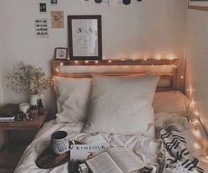 bed, lights, and autumn image
