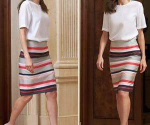 modest, white shirt, and stripe skirt image