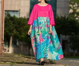linen dress, long dress, and maxidress image