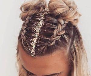 hair, braid, and glitter image