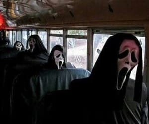 scream, black and white, and bus image