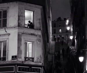 night, black and white, and paris image
