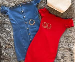 denim, guess, and red image