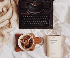 book, autumn, and breakfast image