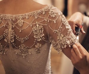 beads, dress, and wedding image