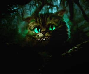 Cheshire cat, alice in wonderland, and dark image