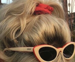 hair, blonde, and sunglasses image