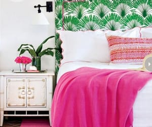 bed, tropical, and bedroom image