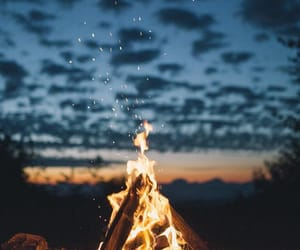 fire, sky, and clouds image