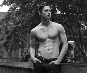 abs, black and white, and boy image
