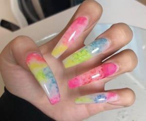 colorful nails, long nails, and nails image