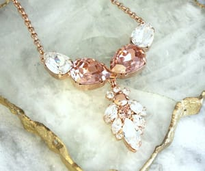 blush, bridal necklace, and crystal necklace image