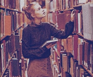 fall, girls, and library image