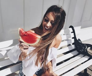 girl, summer, and watermelon image
