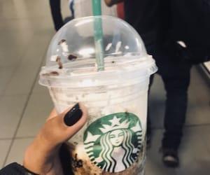 black nails, starbucks, and good coffee image