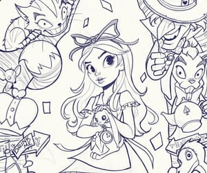 alice in wonderland, mad hatter, and Cheshire cat image
