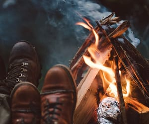 fire, camping, and fall image