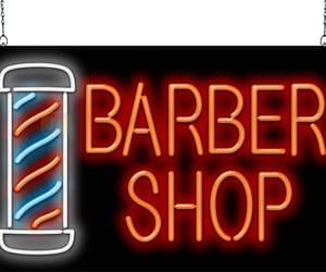 barber shop, barber neon signs, and neon barber pole image