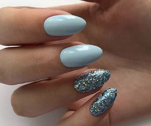 blue nails, nails, and glitter nails image