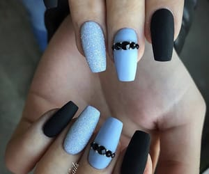 black nails, blue nails, and manicure image