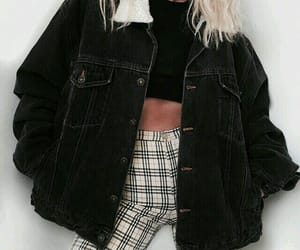 black, blonde, and plaid image