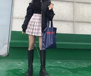 black, plaid, and skirt image