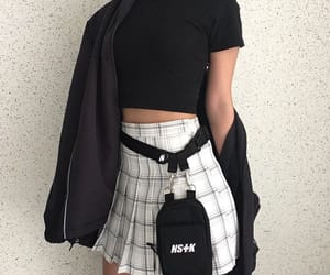 black, plaid, and clothes image