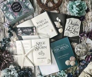 books, flowers, and box image