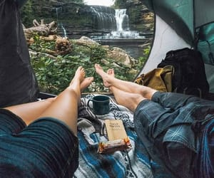 camping, relaxing, and couple image