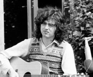 black and white, jimmy page, and led zeppelin image