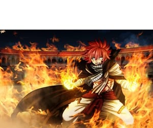 fire, pink hair, and natsu image