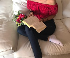 beautiful, books, and flowers image