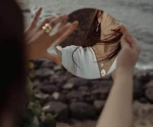 girl, mirror, and sea image
