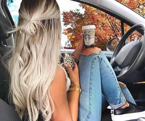 blonde, autumn, and coffee image
