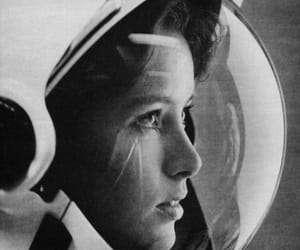 astronaut, b&w, and girl image
