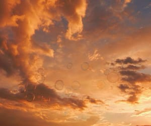 sky, bubbles, and orange image
