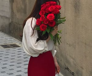 beautiful, girl, and red rose image