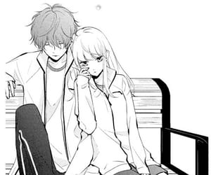 anime, bench, and couple image