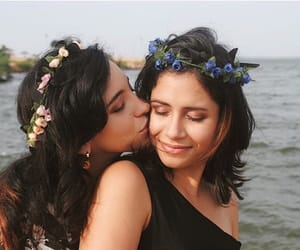 lesbian, couple, and flowers image