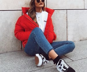 autumn, clothes, and red image