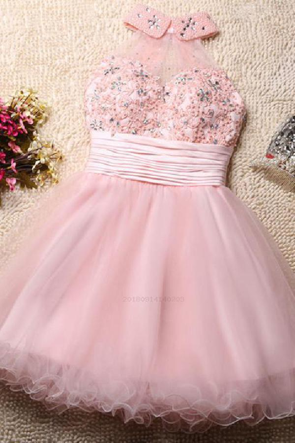 high neck prom dress and homecoming dress short image