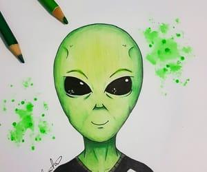 alien, desenho, and paint image