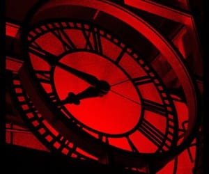 aesthetic, red, and clock image