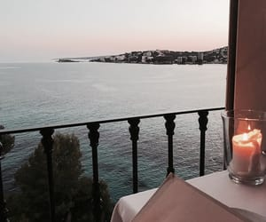 beach, dinner, and candle image