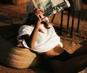 fashion, girl, and newspaper image
