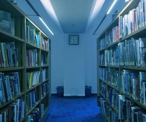 blue, library, and surreal image